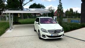 Merceds B-CLass electric car being charged stock video footage
