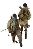 Mercenaires avec la mitrailleuse et le lance-roquettes Image stock
