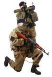 Mercenari con AK 47 ed il lanciarazzi Fotografia Stock