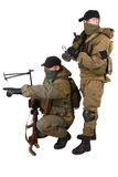 Mercenaries with machine gun and rocket launcher Stock Images