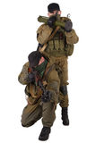 Mercenaries with RPD machine gun and rocket launcher Royalty Free Stock Images