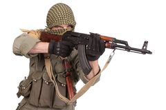 Mercenary with AK 47 gun Royalty Free Stock Image