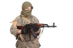 Mercenary with AK 47 gun Stock Photos
