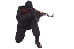 Mercenary with AK 47. Isolated on white background Royalty Free Stock Photo