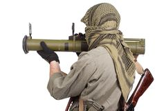 Mercenary with anti-tank rocket launcher Stock Photography