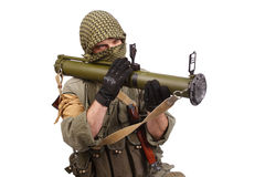 Mercenary with anti-tank rocket launcher - RPG. Isolated on white Stock Photography
