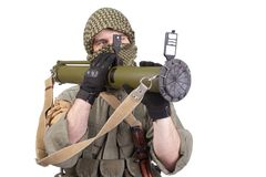 Mercenary with anti-tank rocket launcher - RPG 26 Royalty Free Stock Photos