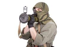 Mercenary with anti-tank rocket launcher - RPG 26 Stock Photo