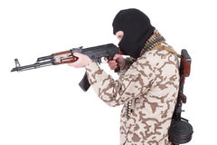 Mercenary with kalashnikov rifle. Isolated on white Stock Photos