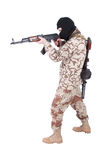 Mercenary with kalashnikov rifle. Isolated on white Stock Image