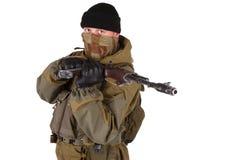 Mercenary with kalashnikov rifle Stock Images