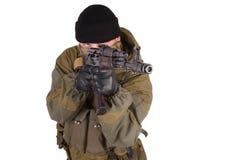 Mercenary with kalashnikov rifle Royalty Free Stock Photo