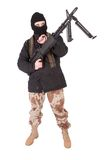 Mercenary with m60 machine gun. Isolated Royalty Free Stock Images