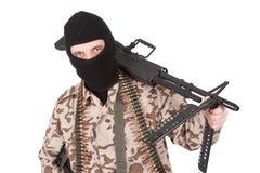 Mercenary with m60 machine gun Stock Images