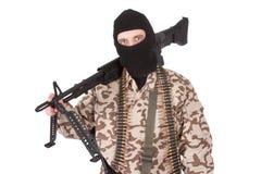 Mercenary with m60 machine gun Stock Photo