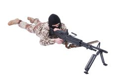Mercenary with m60 machine gun. Isolated on white Stock Photo