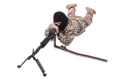 Mercenary with m60 machine gun. Isolated on white Royalty Free Stock Image