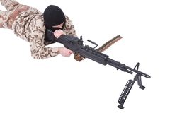 Mercenary with m60 machine gun. Isolated on white Stock Image
