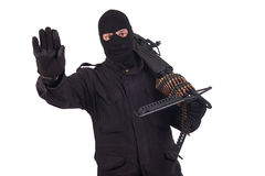 Mercenary with M60 machine gun Royalty Free Stock Photography