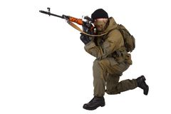 Mercenary sniper with SVD sniper rifle Stock Images
