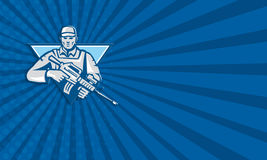 Mercenary Soldier Assault Rifle Retro Royalty Free Stock Photos