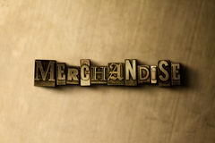 MERCHANDISE - close-up of grungy vintage typeset word on metal backdrop. Royalty free stock illustration.  Can be used for online banner ads and direct mail Stock Image