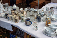 Merchandise exposed at the flea market Royalty Free Stock Image