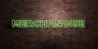 MERCHANDISE - fluorescent Neon tube Sign on brickwork - Front view - 3D rendered royalty free stock picture. Can be used for online banner ads and direct Royalty Free Stock Photos