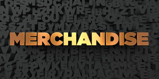 Merchandise - Gold text on black background - 3D rendered royalty free stock picture. This image can be used for an online website banner ad or a print Stock Images