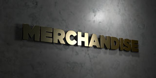 Merchandise - Gold text on black background - 3D rendered royalty free stock picture. This image can be used for an online website banner ad or a print Stock Photos