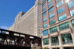 Merchandise Mart along Chicago river. Merchandise Mart and city modern buildings,  Chicago, Illinois, United States Stock Image
