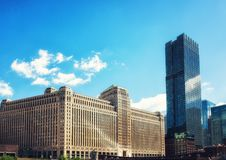 Merchandise Mart Building Chicago. Chicago, USA - June 18, 2017: The Merchandise Mart on a clear winter& x27;s morning in Chicago, USA Stock Image