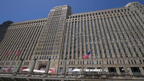 Merchandise Mart Building at Downtown Chicago - CHICAGO. UNITED STATES - JUNE 11, 2019. Merchandise Mart Building at Downtown Chicago - CHICAGO, USA - JUNE 11 stock video footage