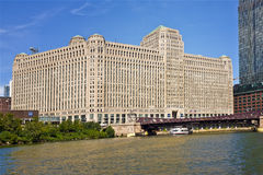 The Merchandise Mart, Chicago Illinois. The Merchandise Mart, on the Chicago River in the downtown Chicago business district, claims to be the world's largest Stock Image