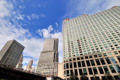 Merchandise Mart and other buildings by Chicago river Stock Images