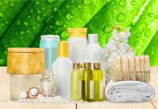 Merchandise. Care human skin spa treatment individuality beauty health spa Stock Images