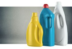 Merchandise. Laundry detergent plastic bottle laundry cleaning consumerism Stock Images