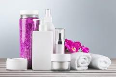 Merchandise. Perfume cosmetics beauty spa treatment health spa toiletries Royalty Free Stock Images