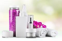 Merchandise. Perfume cosmetics beauty spa treatment health spa toiletries Stock Photography