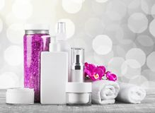 Merchandise. Perfume cosmetics beauty spa treatment health spa toiletries Royalty Free Stock Images
