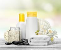 Merchandise. Spa treatment health spa cosmetics beauty wellbeing bath salt Stock Photo