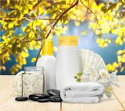 Merchandise. Spa treatment health spa cosmetics beauty wellbeing bath salt Royalty Free Stock Photos