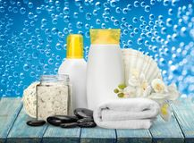 Merchandise. Spa treatment health spa cosmetics beauty wellbeing bath salt Stock Images