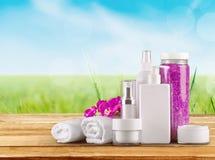 Merchandise. Perfume cosmetics beauty spa treatment health spa toiletries Royalty Free Stock Photos