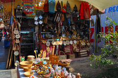 Merchandise in Peruvian shop. A variety of items and merchandise displayed on sale at a shop in Peru Royalty Free Stock Photography