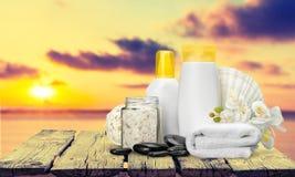 Merchandise. Spa Treatment Health Spa Cosmetics Beauty Wellbeing Bath Salt Royalty Free Stock Photo