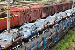 Merchandise wagons I. Different wagons,empty or with merchandise in marshalling yard. Horizontal picture Royalty Free Stock Photos