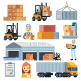 Merchandise warehouse and logistic flat vector icons with workers and equipment. Delivery and storage, warehouse and cargo box illustration Royalty Free Stock Image