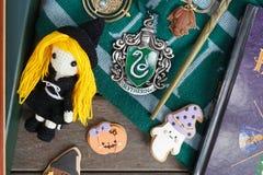 Merchandises från Harry Potter filmer arkivfoto