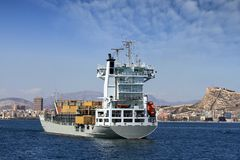 Merchant. Carrier boat anchored in Alicante Bay Royalty Free Stock Photos